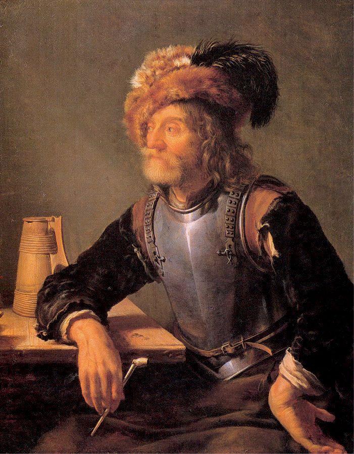 Franz van Miris the Elder. Soldier with a pipe