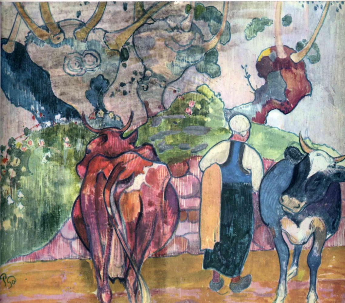 Поль Гоген. Крестьянки с коровами в ландшафте