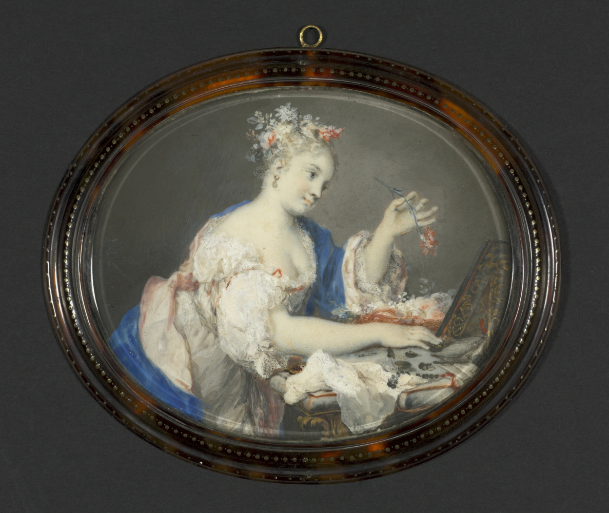 Rosalba Carriera (Carrera). A Woman Putting Flowers in Her Hair