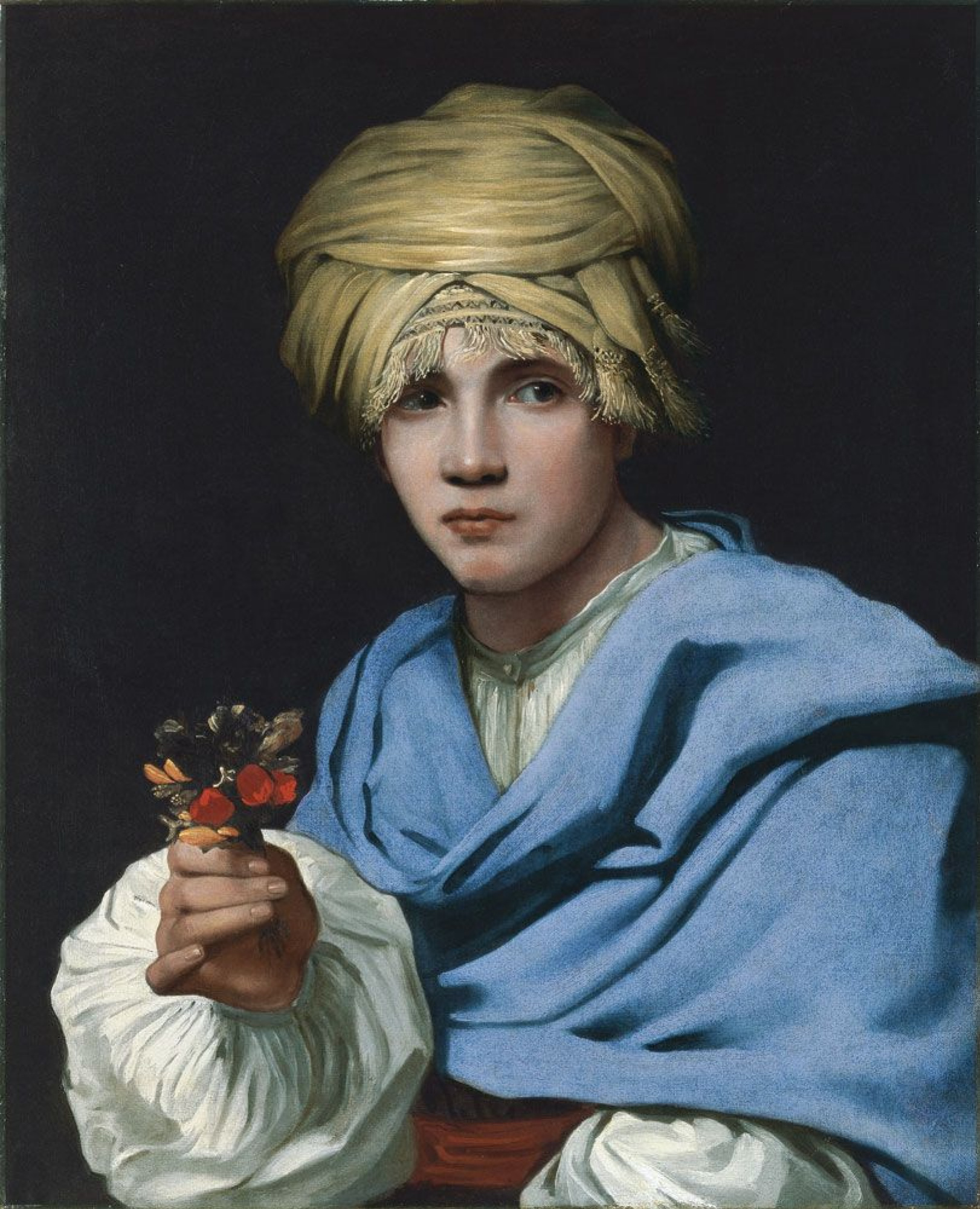 Michael Swerts. Boy in a turban holding a nosegay