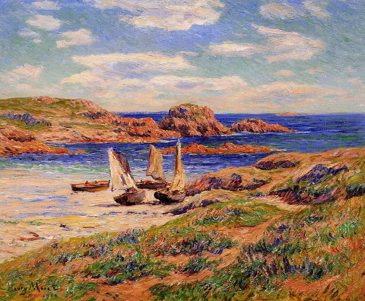 Henry Moret. Boats in the port of finistère