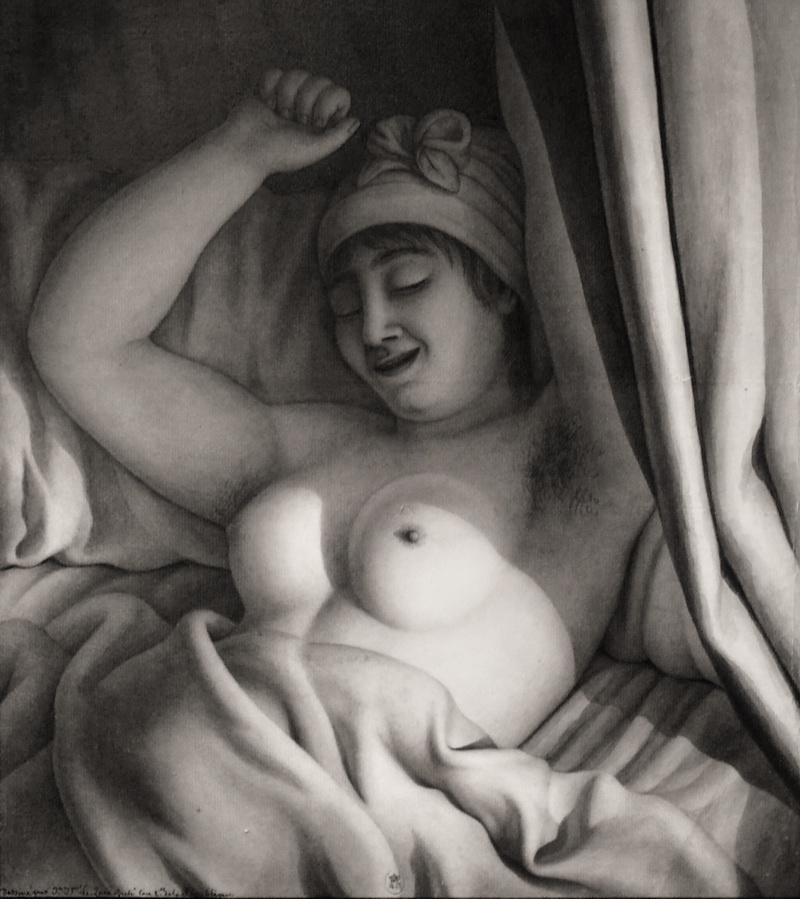 Jean-Jacques-Lequeu. Study of a Nude Woman in Bed, 1793-94