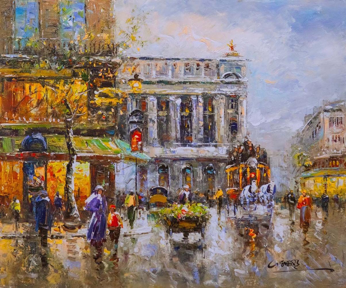 """(no name). Landscape of Paris by Antoine Blanchard """"Cafe de la Paix Opera"""""""