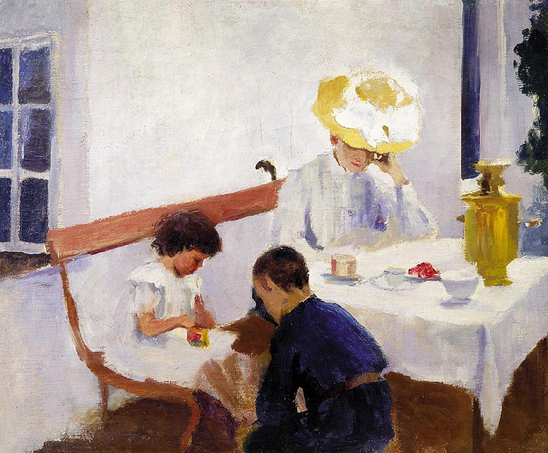 Ольга Людвиговна Делла-Вос-Кардовская. За столом. На террасе. 1903