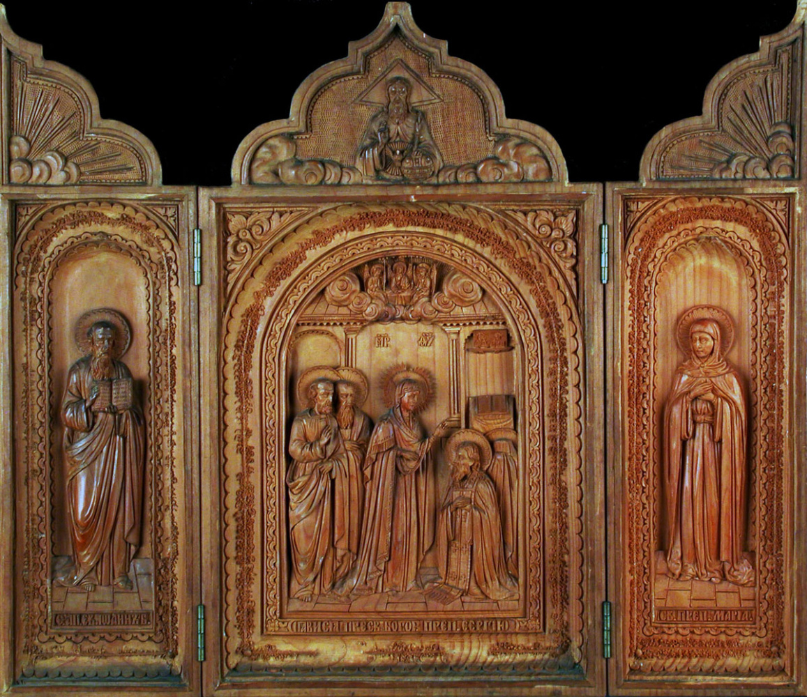 Icon Painting. Tricuspid fold Phenomenon of the Virgin prep. Sergius of Radonezh (workshop of I.S. Khrustachev)