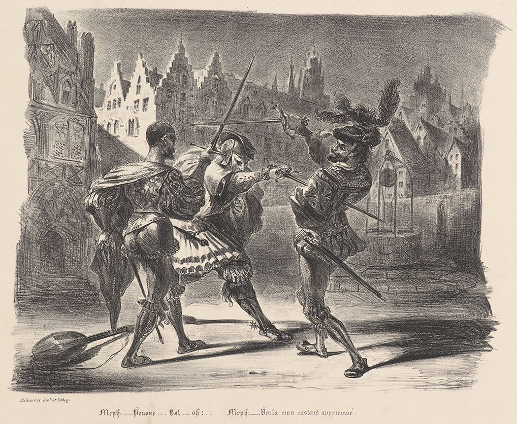 """Eugene Delacroix. The duel of Faust and Valentine (for Goethe's """"Faust"""")"""