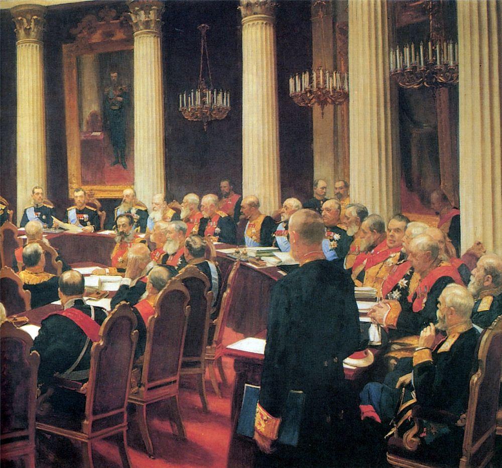Илья Ефимович Репин. Торжественное заседание Государственного совета 7 мая 1901 года, в день столетнего юбилея со дня его учреждения. Фрагмент