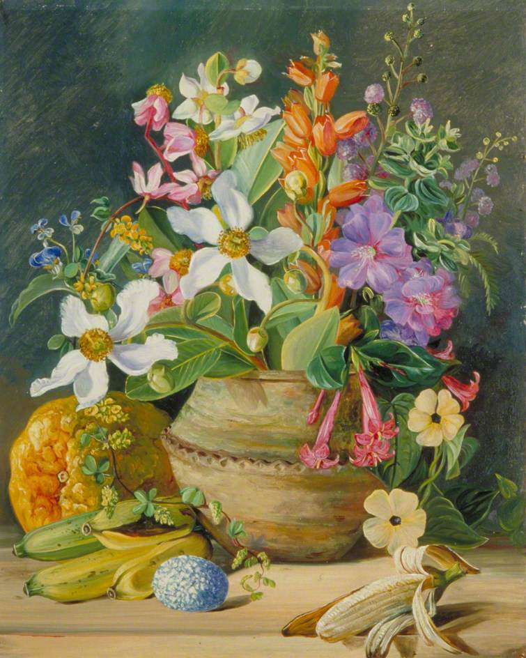 Marianna North. Still life with wild meadow flowers of Brazil, bananas and an egg
