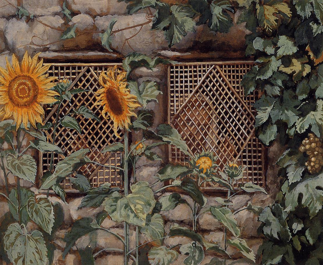 James Tissot. Sunflowers by the wall
