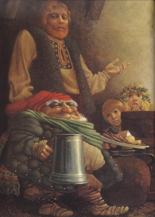 James Christensen. The leprechaun and the farmer