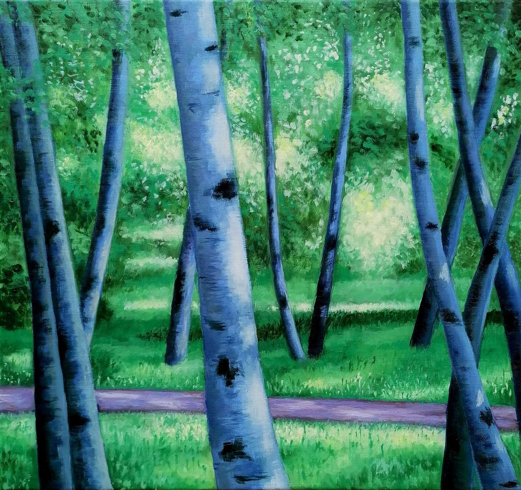 Natalia Shcherbakova. Birches in a summer park