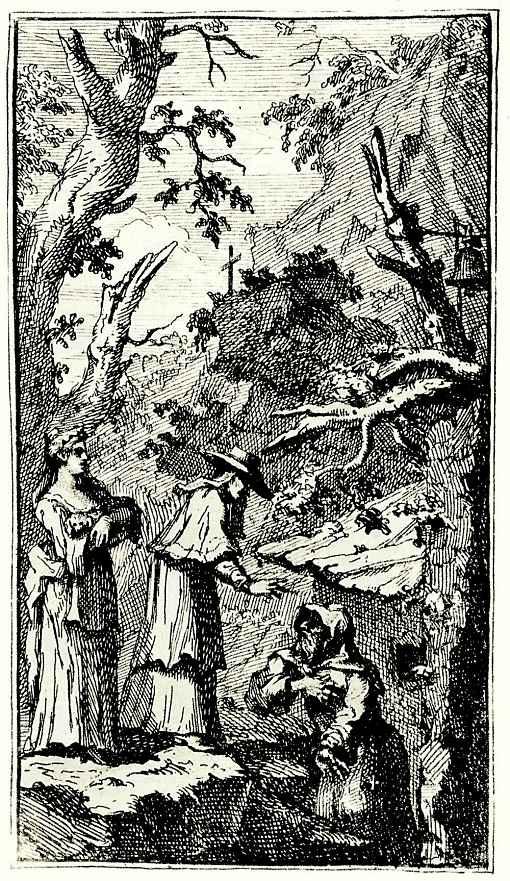 Уильям Хогарт. Анжела держит на руках превращенного в комнатную собачку Фантазио