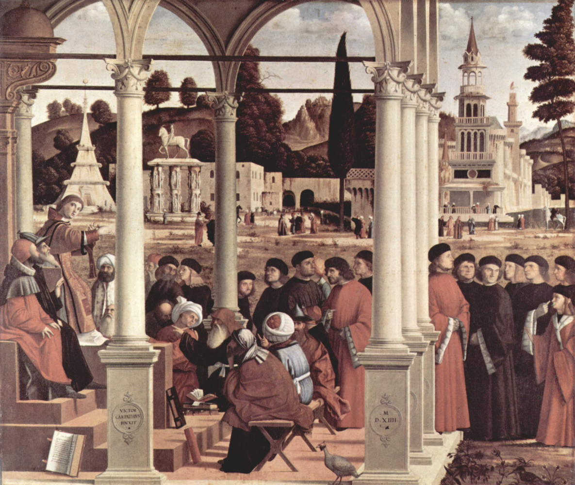 Vittore Carpaccio. The series of paintings the life of St. Stephen, a disputation of St. Stephen
