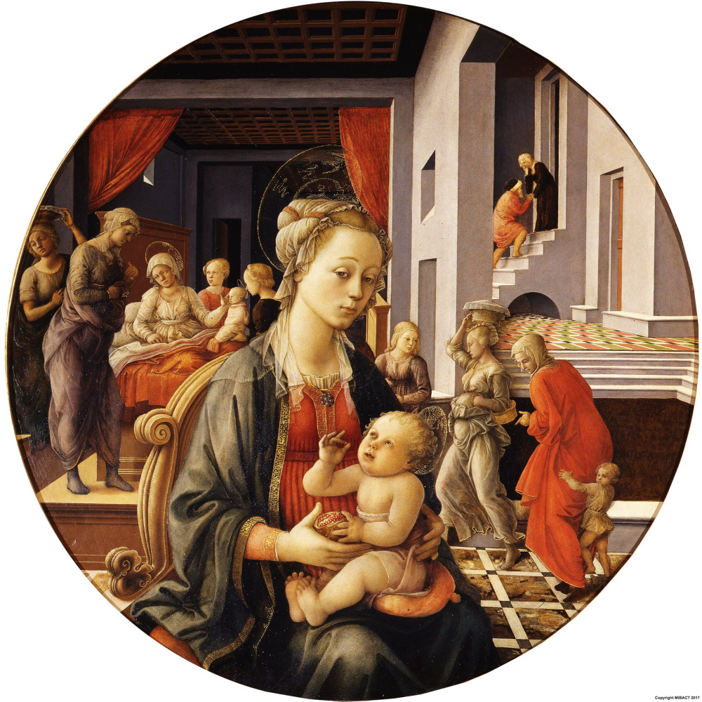 Fra Filippo Lippi. Madonna and child with scenes from the life of St. Anne (Madonna Bartolini)