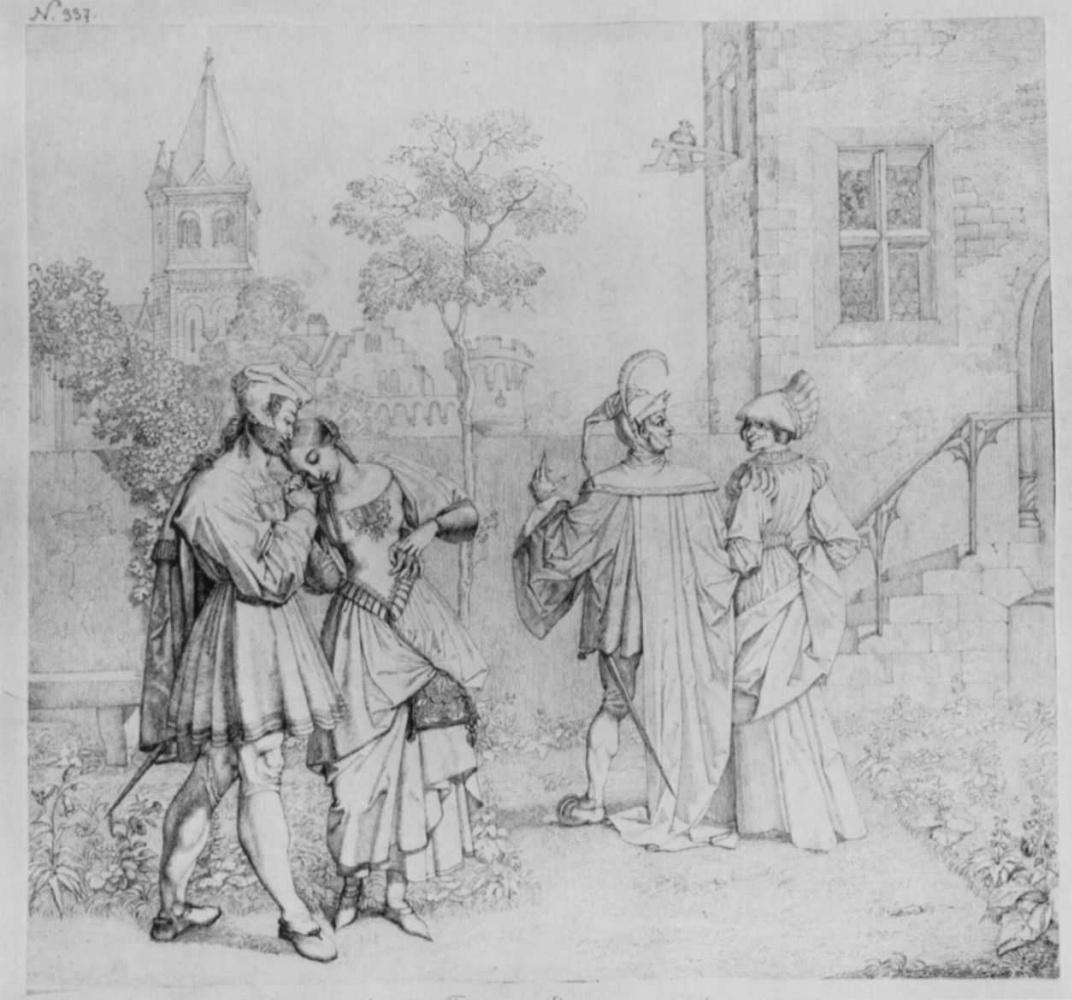 Петер фон Корнелиус. Фауст и Гретхен в саду фрау Марты