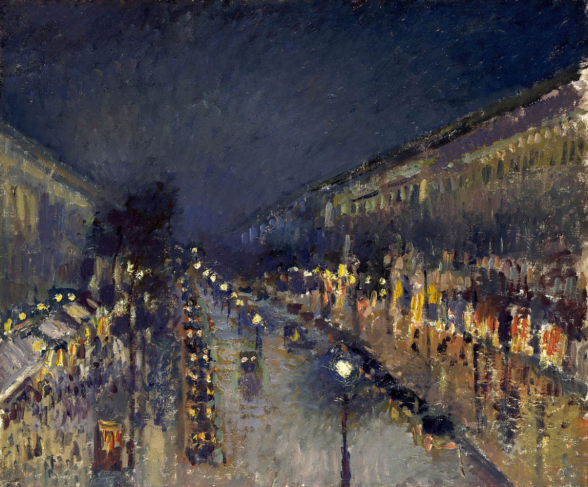 Camille Pissarro. Boulevard Montmartre by night