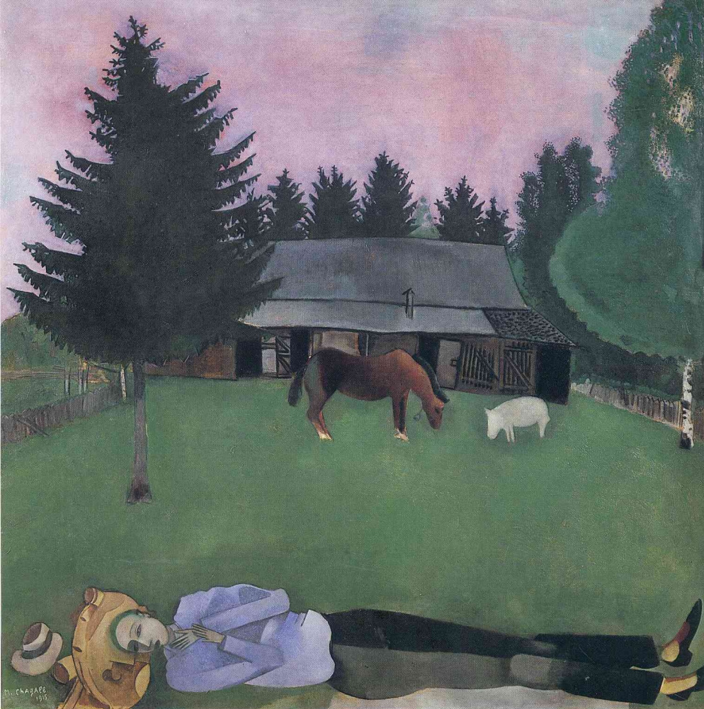 Марк Захарович Шагал. Полулежащий поэт