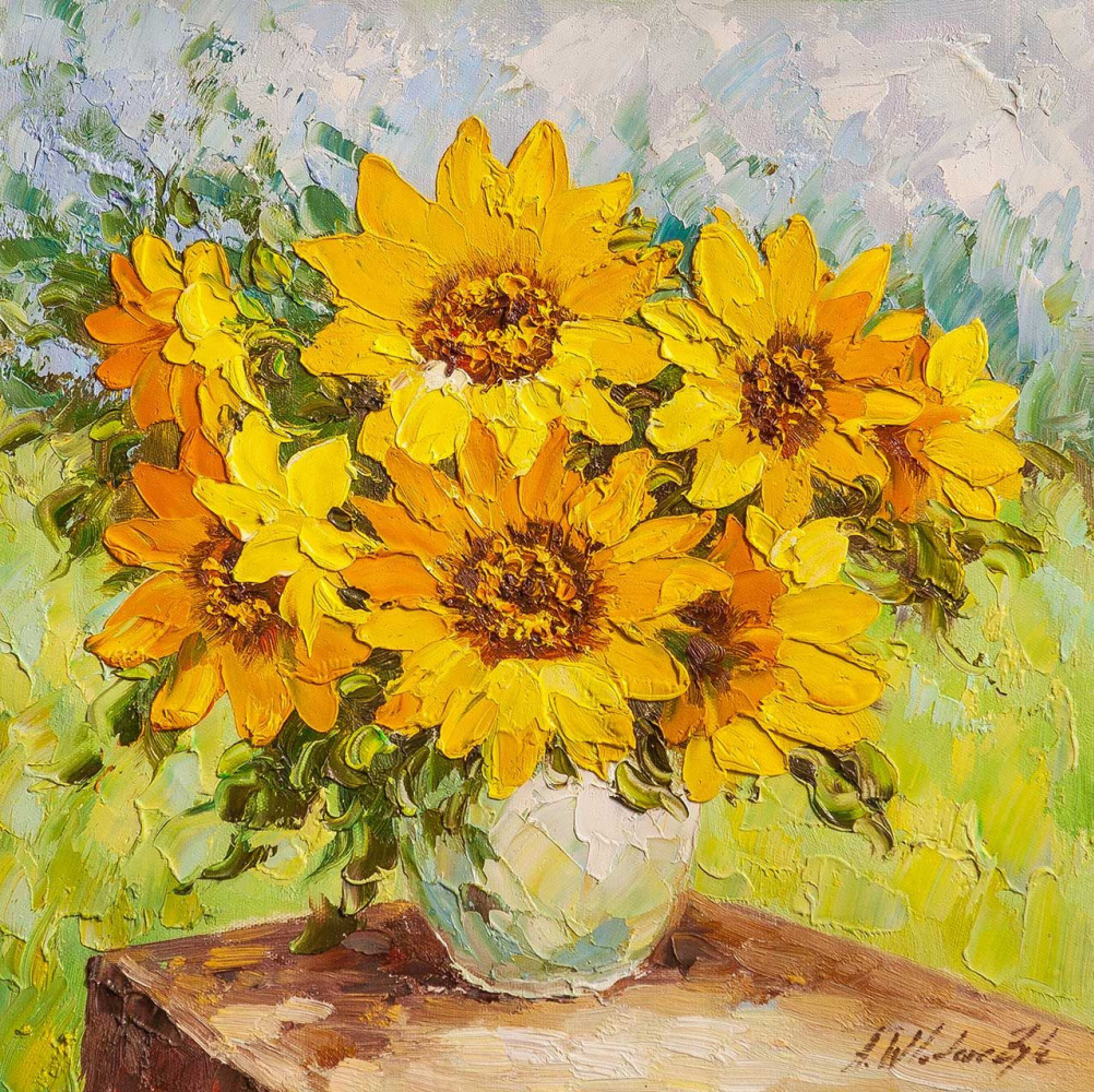 Andrzej Vlodarczyk. Sunflowers in a vase against the backdrop of a garden