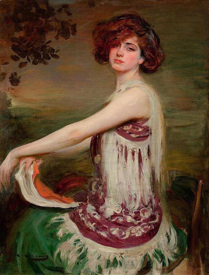 Ramon Casas i Carbó. Portrait of Julia sitting on a chair