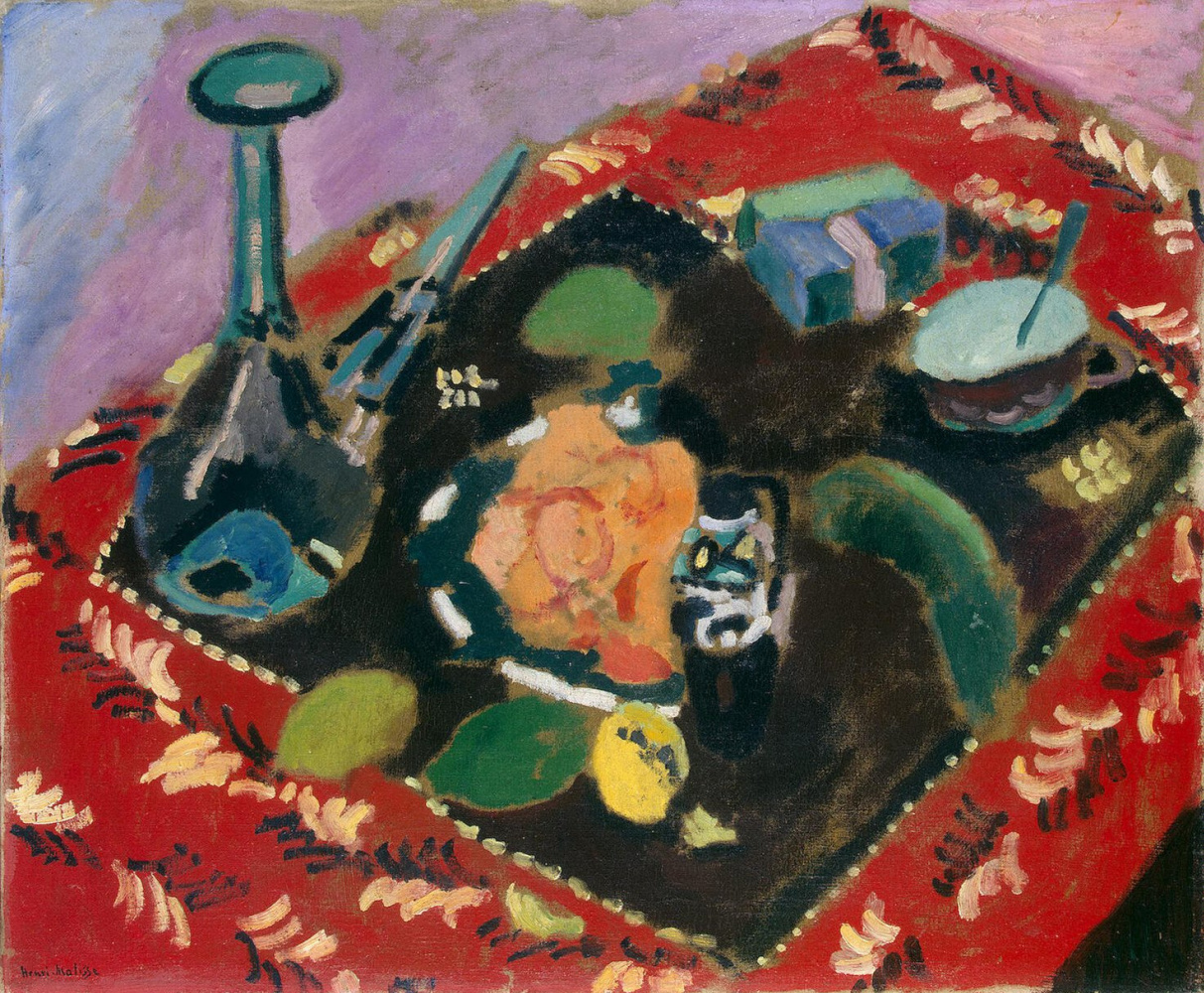 Анри Матисс. Посуда и фрукты на красно-черном ковре