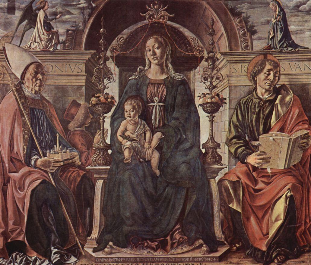 Франческо дель Косса. Мадонна на престоле, св. Петрониус и св. Иоанн Евангелист