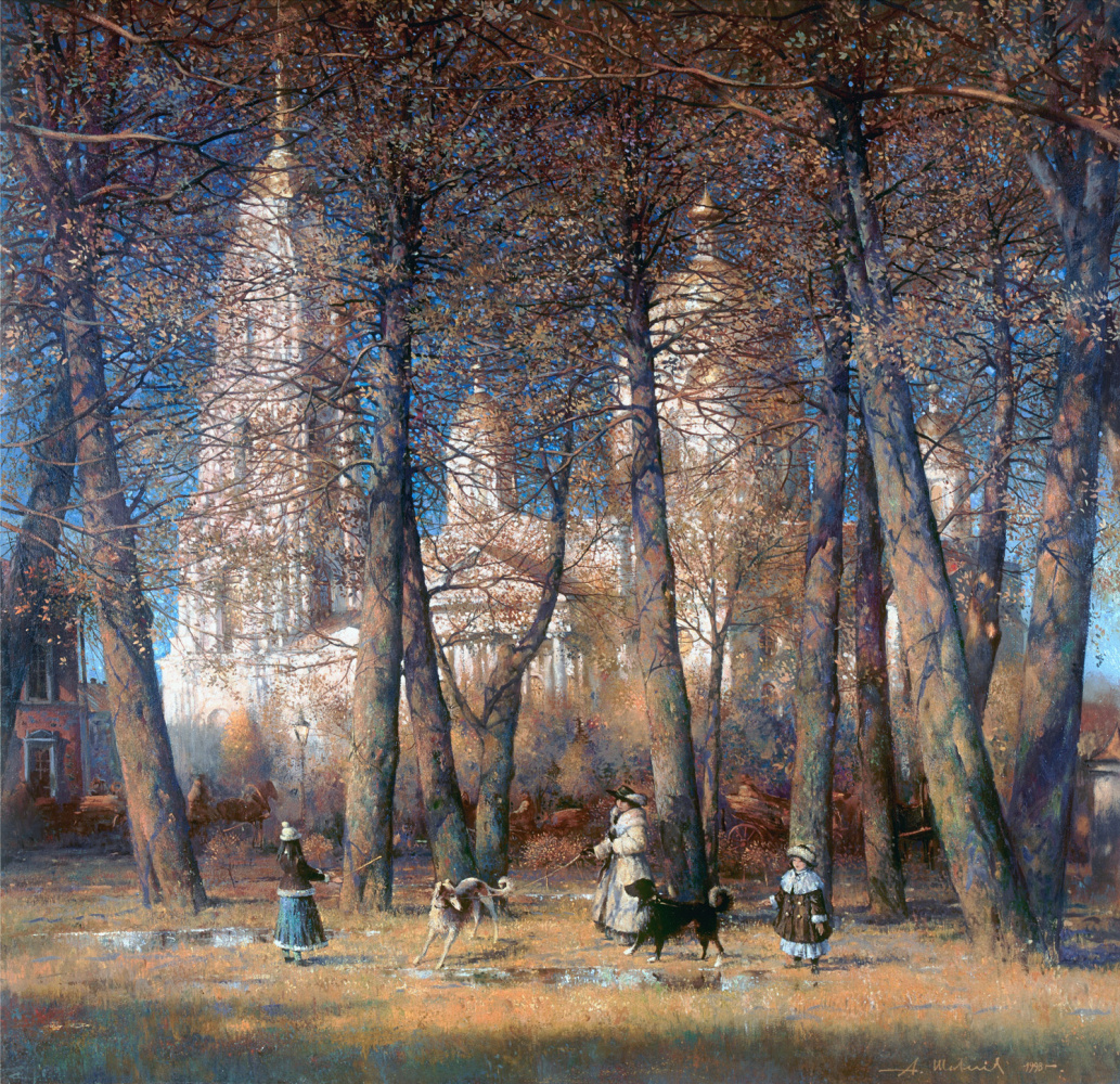 Alexander Victorovich Shevelyov. Cathedral through the branches. Oil on canvas 141 x 146 cm. 1998