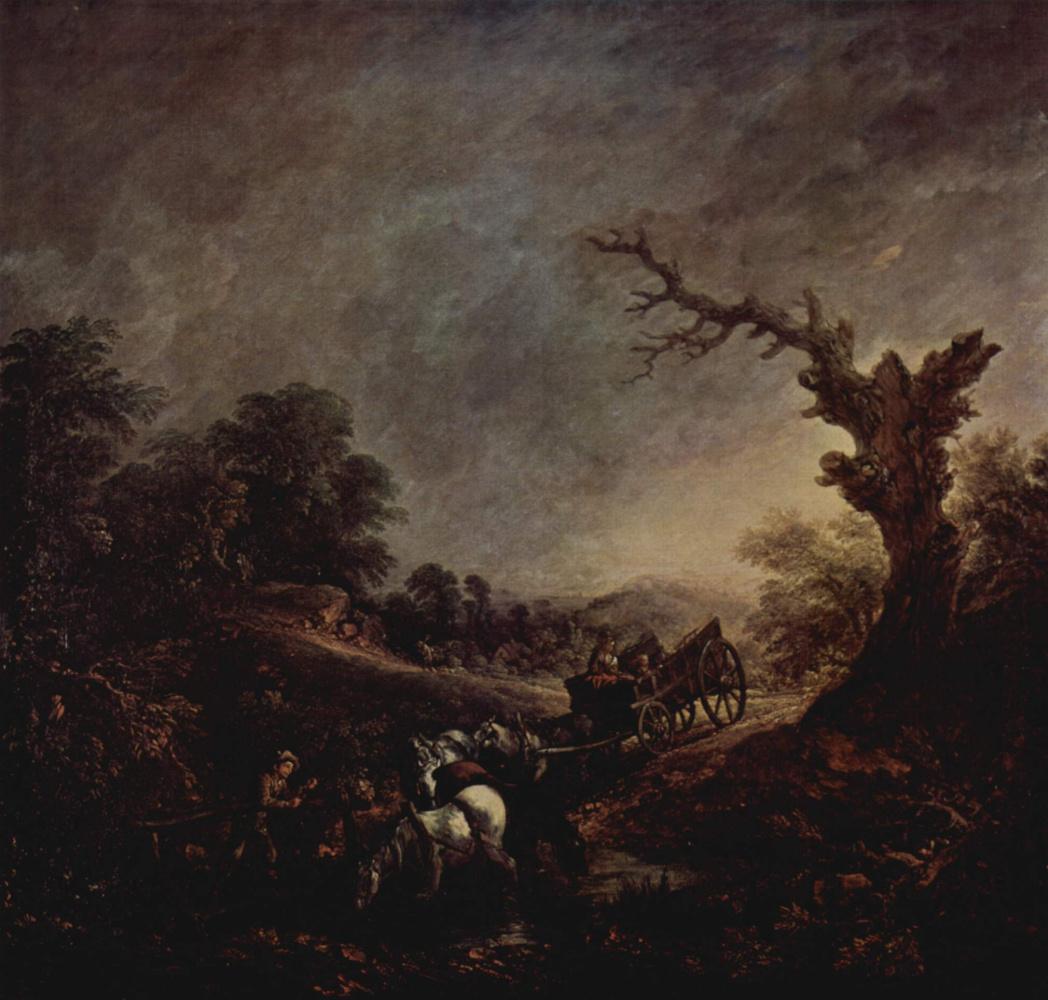 Томас Гейнсборо. Заход солнца, отдых почтовых лошадей