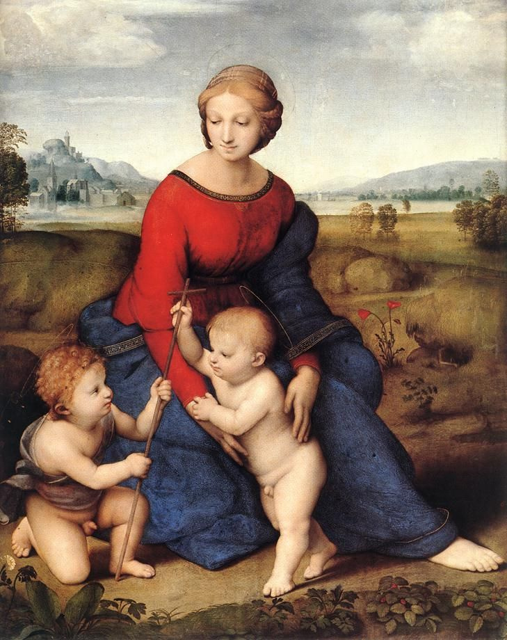 Raphael Sanzio. Madonna in green (Madonna in the meadow or Belvedere Madonna)
