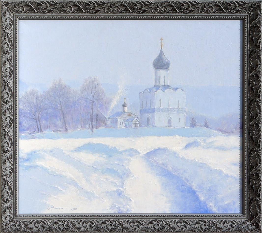 Alexander Matyukhin. 2021. White Day. Church of the Intercession on the Nerl. Bogolyubovo (oil on canvas 50x60 cm)