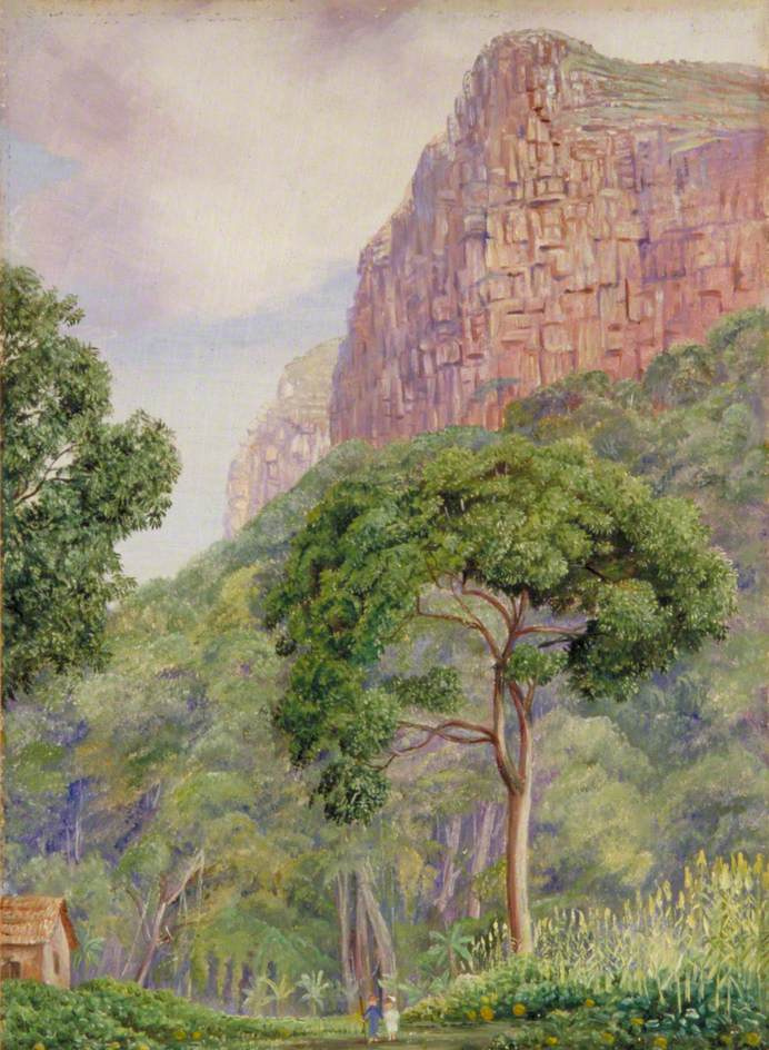 """Marianna North. A pair of elves under the """"rain"""" tree on the background of rocks, St. John's"""