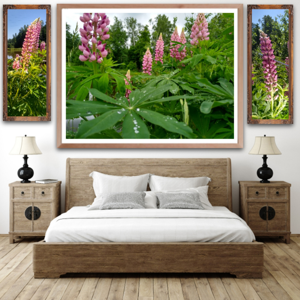 Natalya Garber. Lupine pond. Trio of photographs for the bedroom of happy spouses