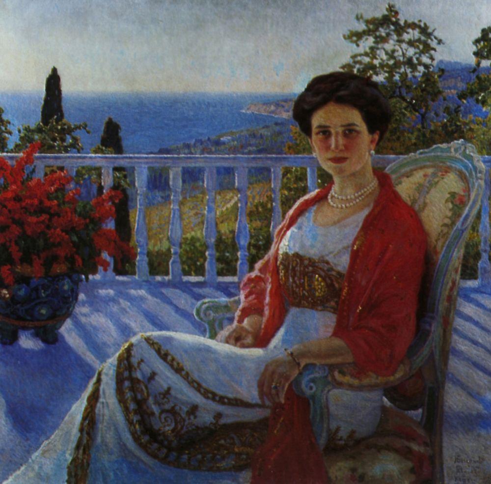 Николай Петрович Богданов-Бельский. Дама на балконе. Кореиз. Портрет И. А. Юсуповой