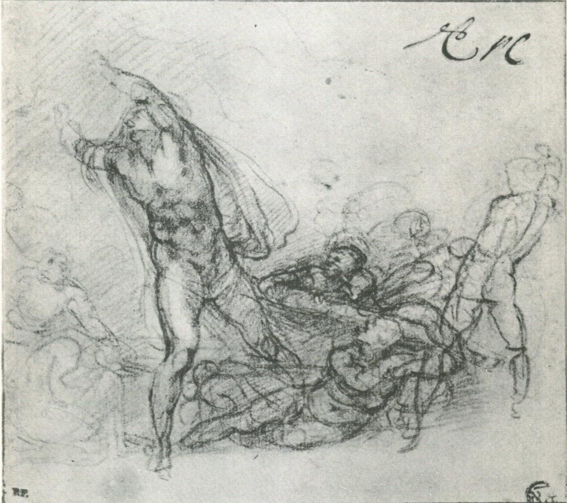 Микеланджело Буонарроти. Набросок для Воскрешения Христа.