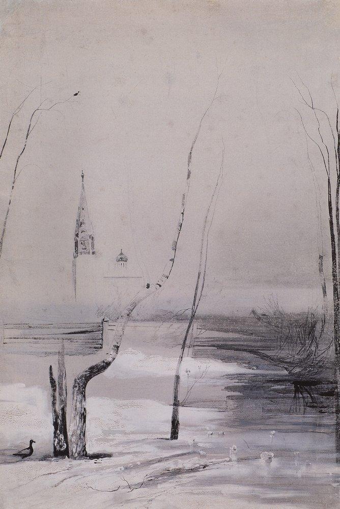 Алексей Кондратьевич Саврасов. Пейзаж с церковью и колокольней
