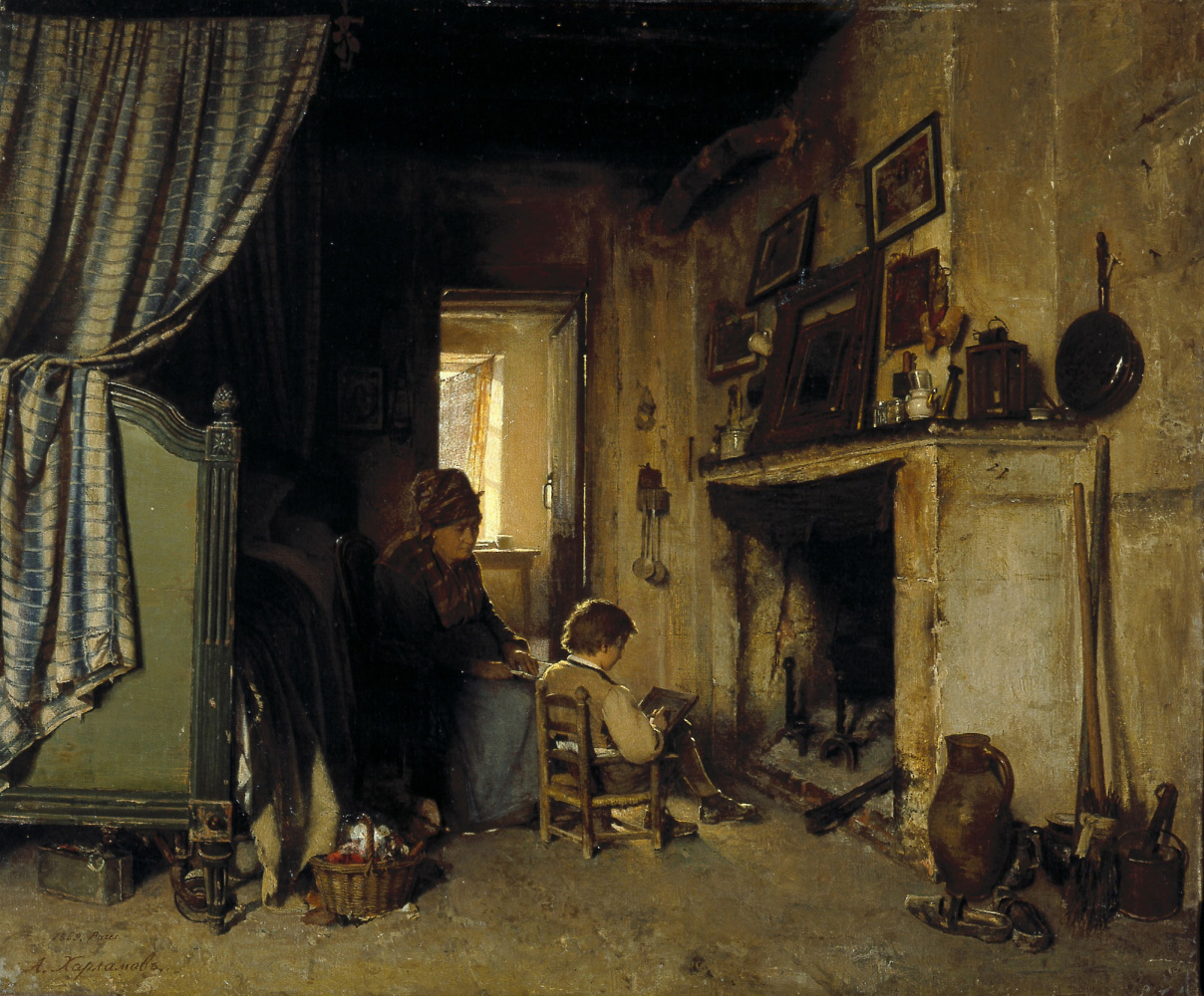 Alexey Alekseevich Kharlamov. Grandmother with her granddaughter. 1869