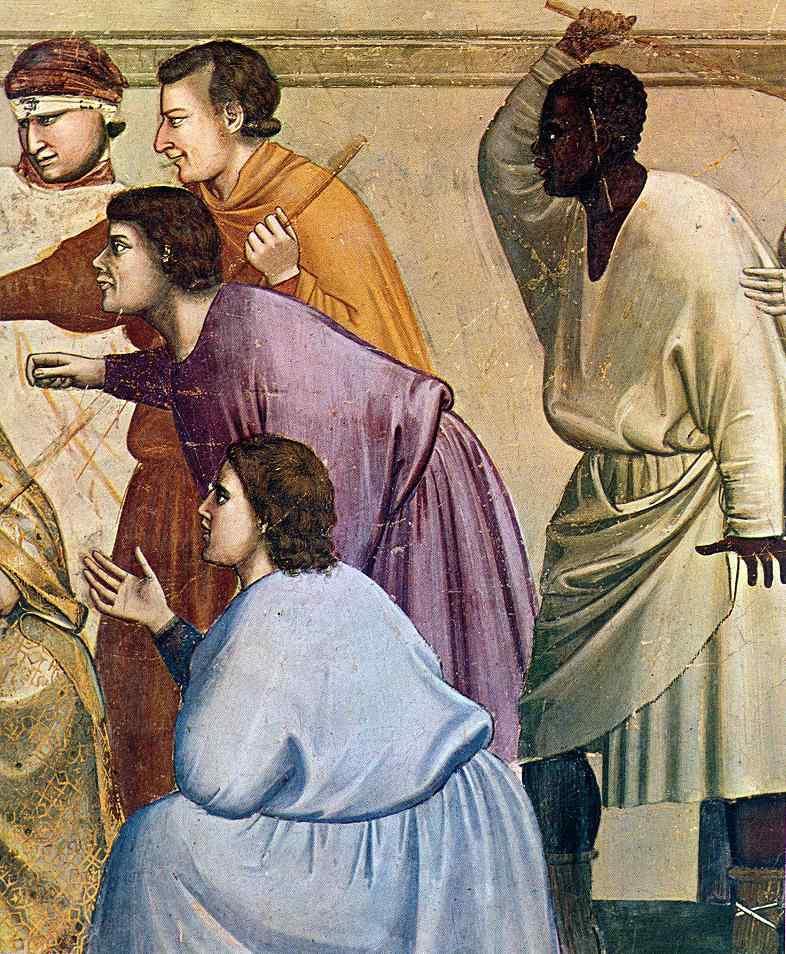 Джотто ди Бондоне. Сцены из жизни Христа. 17. Бичевание. Фрагмент