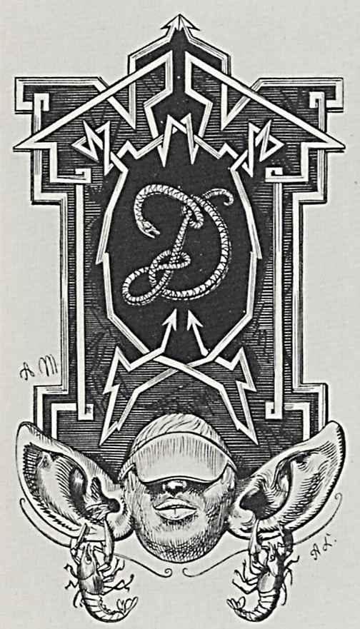 Адольф фон Менцель. Иллюстрация к сочинению Бертольда Ауэрбаха Слесарь из Виттенберга, Инициал Д, составленный из змей, на поле, украшенном м