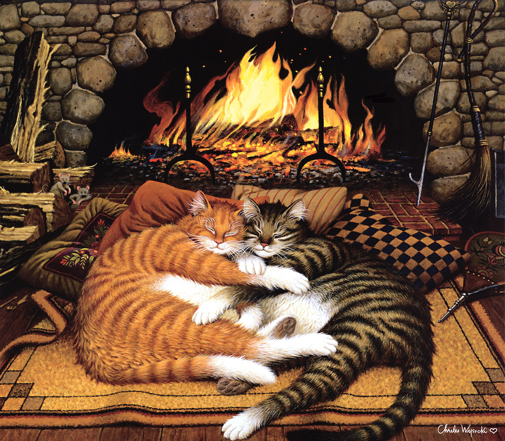 Charles Vysotsky. Cats by the fireplace