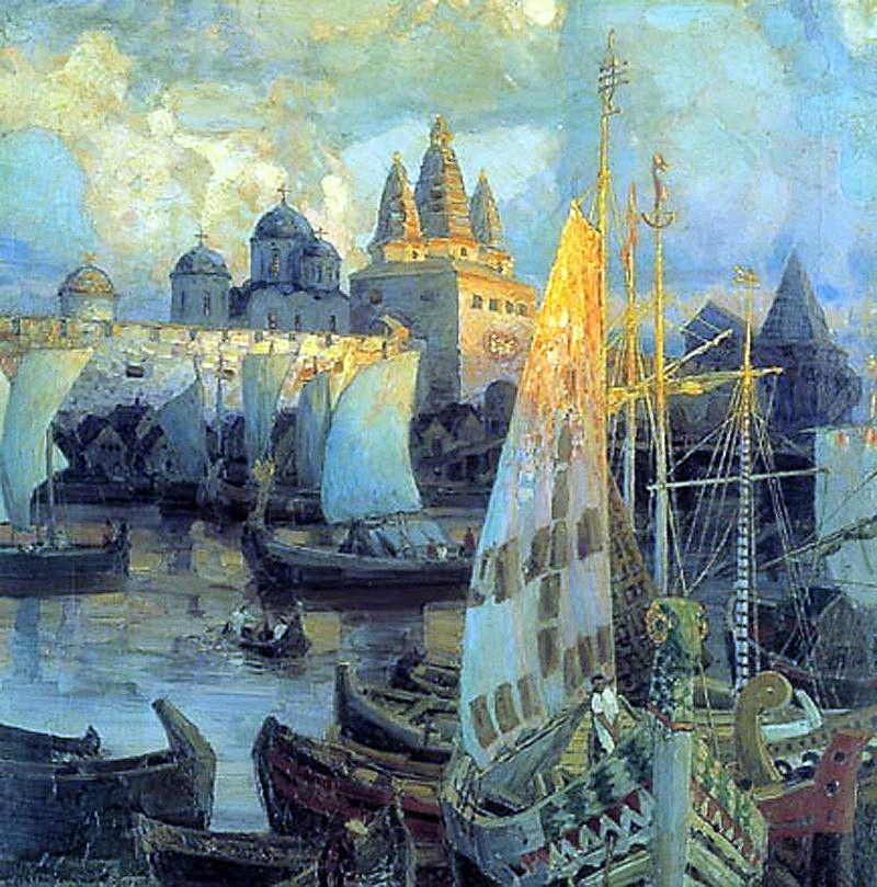 Apollinarius Mikhailovich Vasnetsov. The Varangian ships in Veliky Novgorod