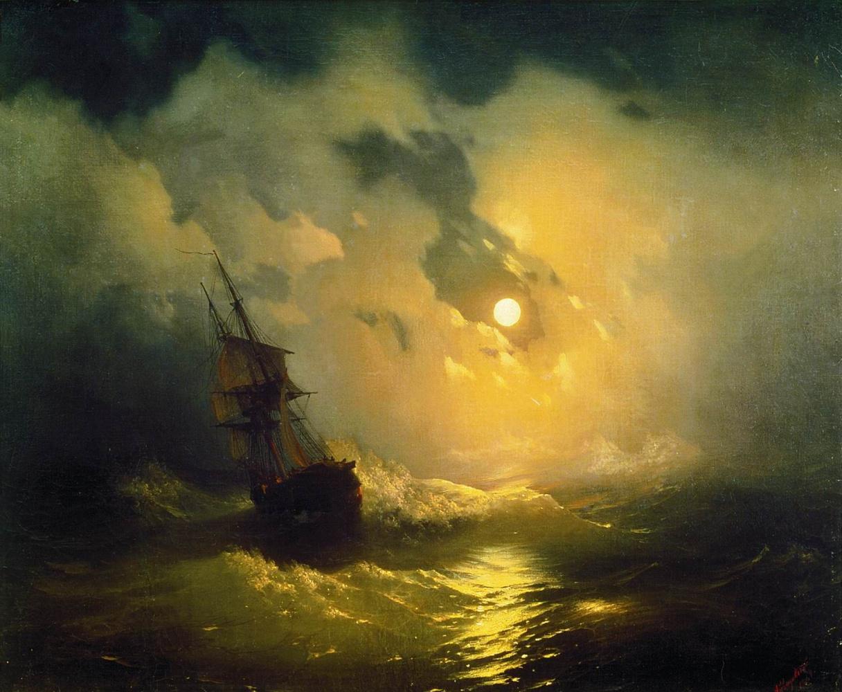 Ivan Aivazovsky. Storm on the sea at night