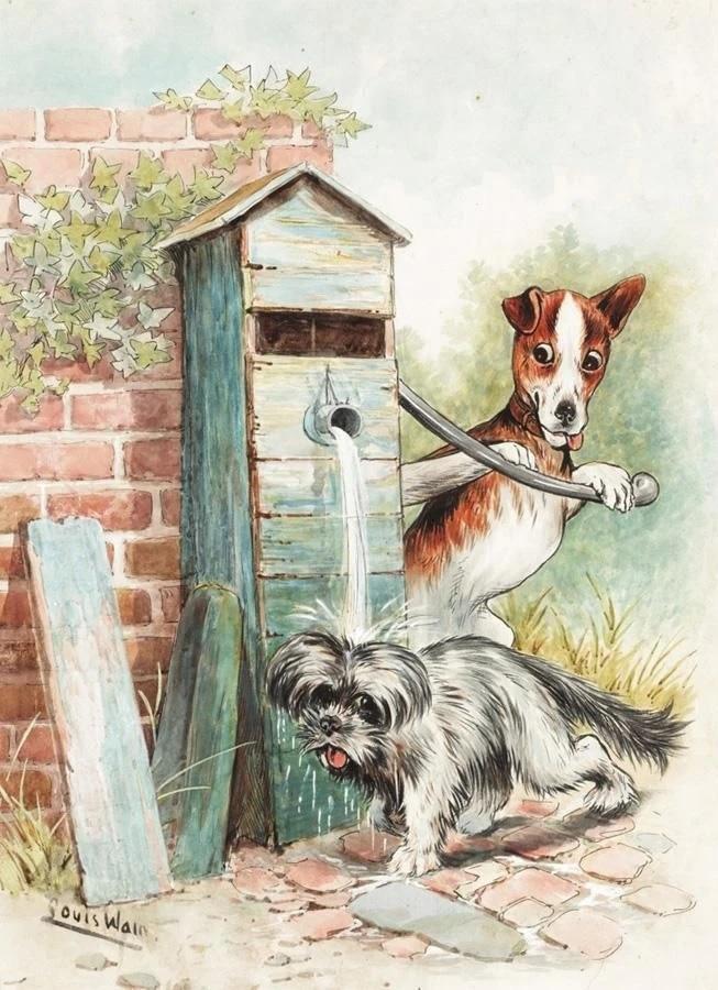 Louis Wain. Dog shower
