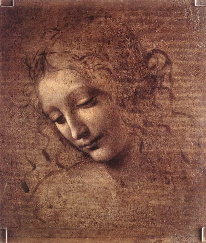 Леонардо да Винчи. Голова молодой женщины с растрепанными волосами