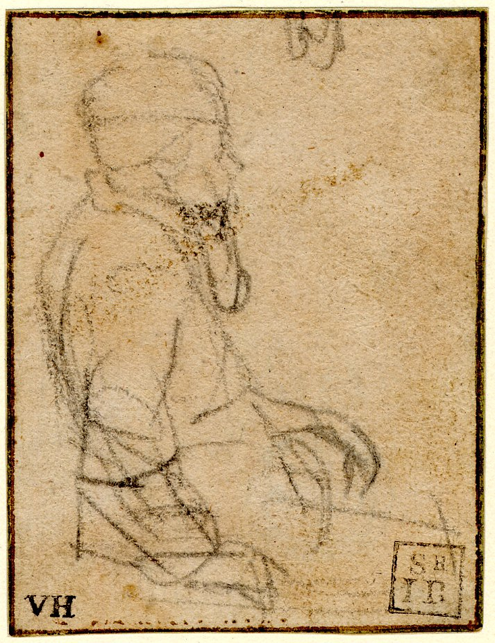 Rembrandt Harmenszoon van Rijn. Sketch of a seated man, profile to right