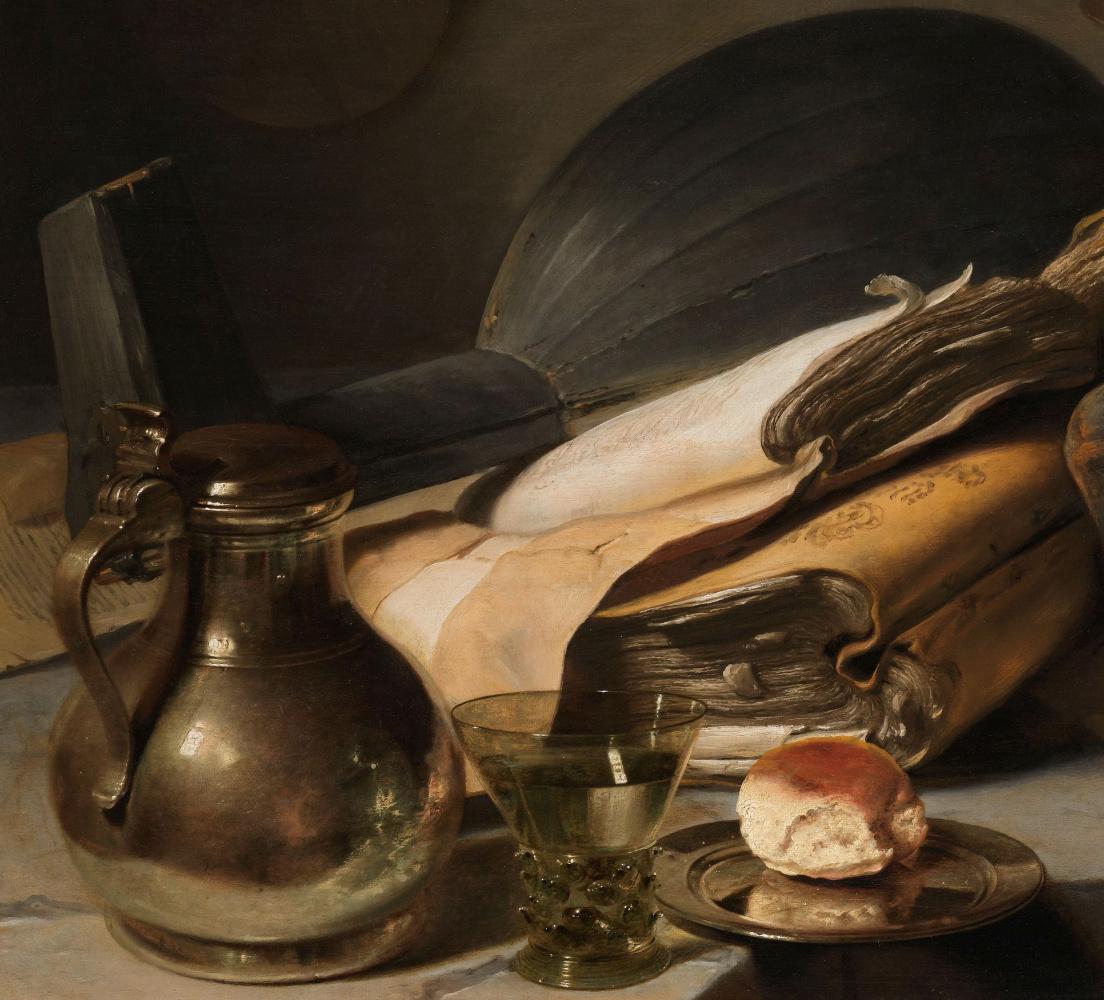 Ян Ливенс. Натюрморт с книгами. Фрагмент. Кувшин, рёмер и лютня