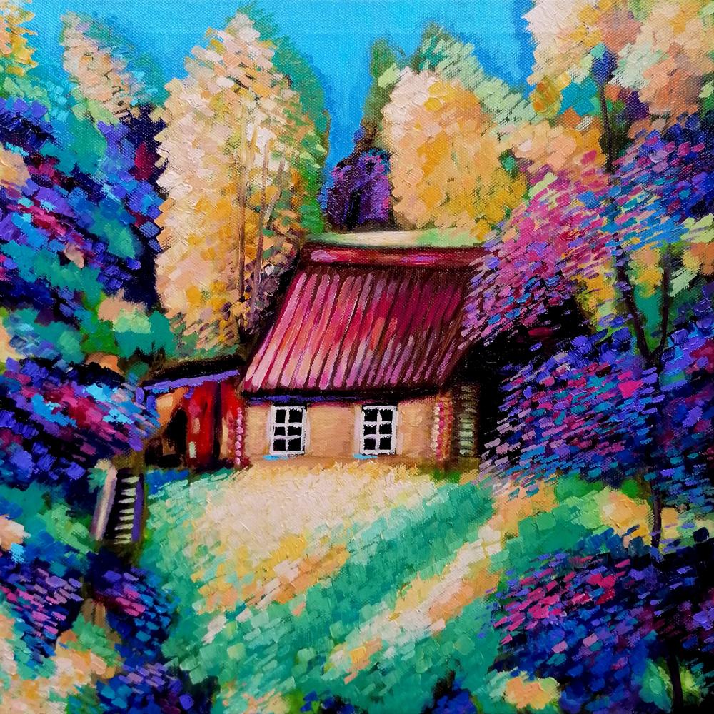 Natalia Shcherbakova. House on a hill in a sunny forest