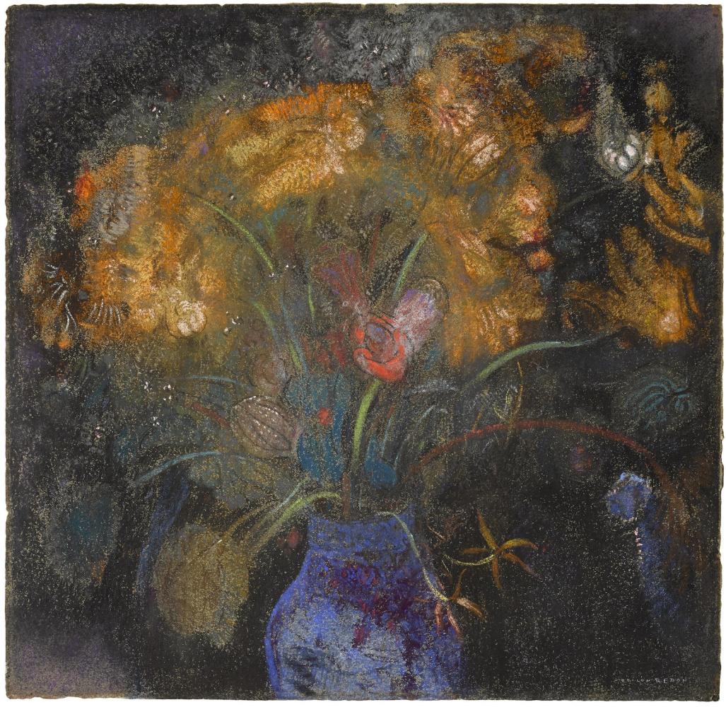 Одилон Редон. Оранжевые цветы в голубой вазе на черном фоне