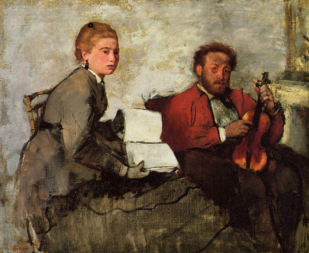 Edgar Degas. Violinist and young woman with notes
