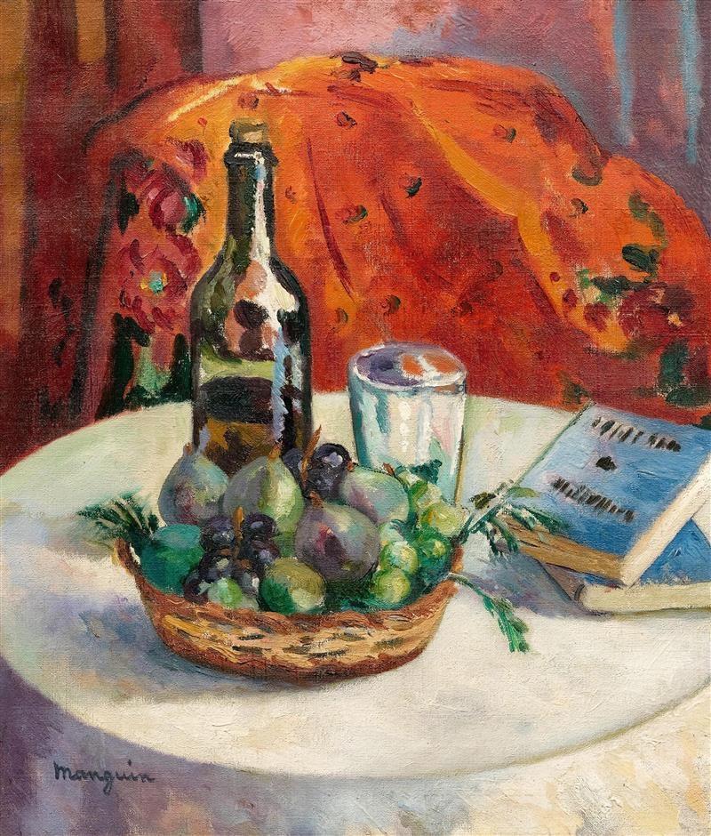 Henri Manguin. Still life with fruit, bottle of wine and books