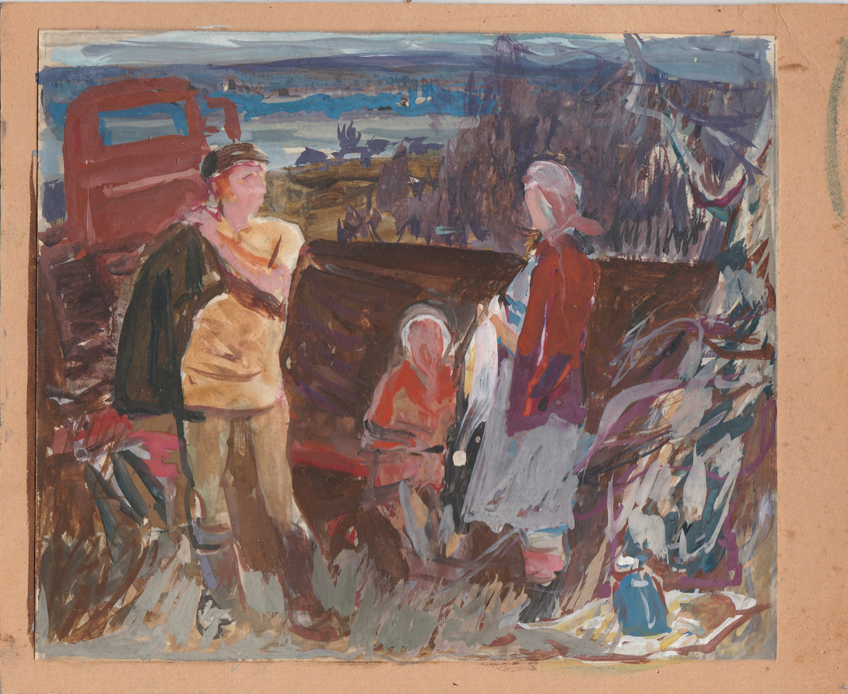 """Gennady Pavlovich Sorogin. Sketch for the triptych """"Spring Land"""" """"Family"""" central part"""