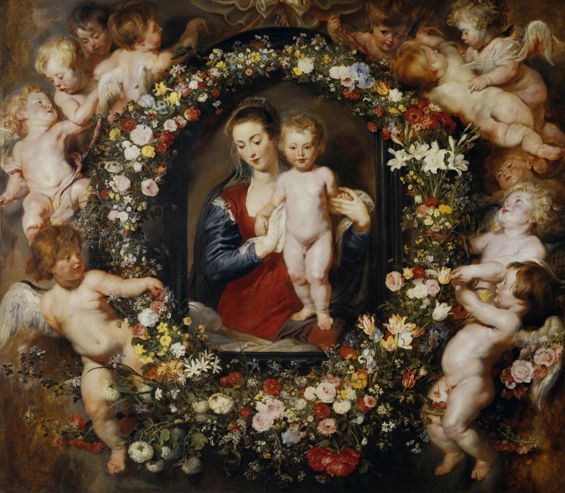 Jan Bruegel The Elder. Madonna and Child in a flower garland. (in collaboration with P. P. Rubens) Around 1616